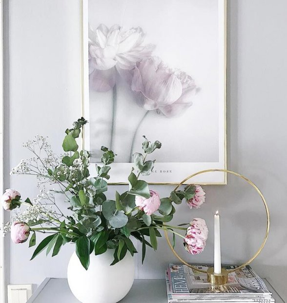Decorative poster with peonies