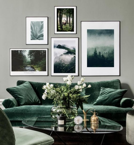 Nature inspired photo wall with green motifs