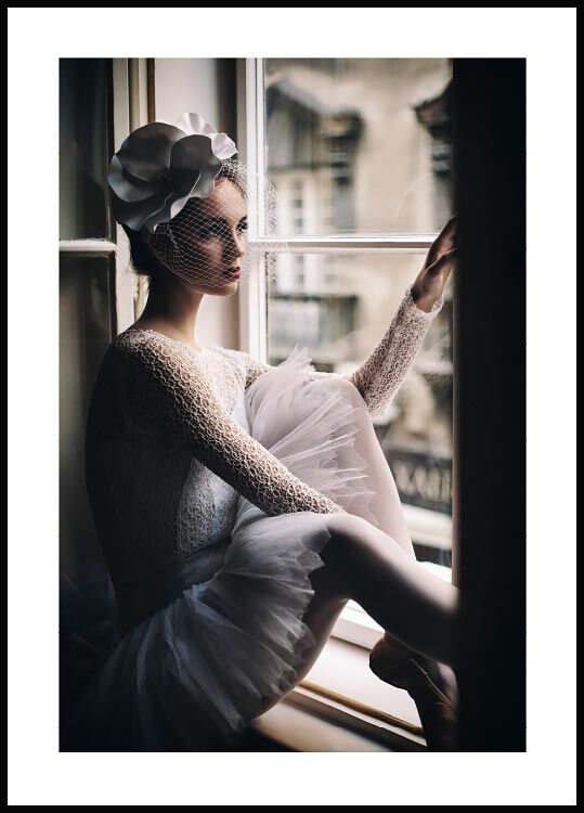 Ballerina in window Poster